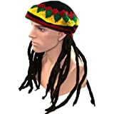 Chapeau Rasta Méga Funky fêtes XXL Rasta Perruque RASTA avec Bonnet Garçon Jamaique BOB MARLEY LOOK Volumineux déguisement tresse dreadlocks fantaisie