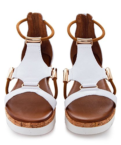 Inuovo Da Donna sandali gladiator in pelle Bianco Bianco