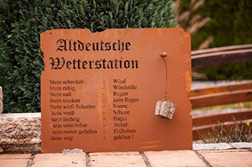 Edelrost Schild ' Altdeutsche Wetterstation' zum Hängen 70cm x 80cm