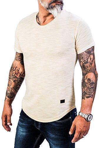 Rock Creek Herren Designer T-Shirt Rundhals Ausschnitt Kurzarm Oversize Shirt Sommershirt Slim Fit Sweatshirt H-151 S Beige