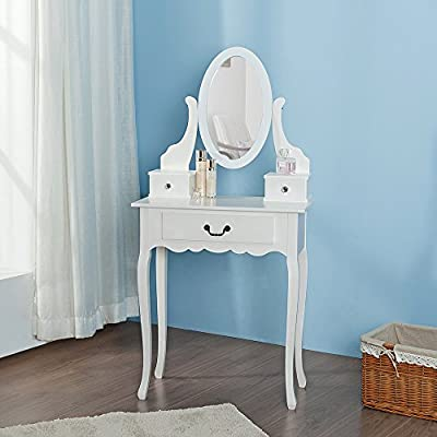 Life Carver White Dressing Table Bedroom Makeup Desk Mirror Set 3 with Drawers produced by LIFE CARVER - quick delivery from UK.