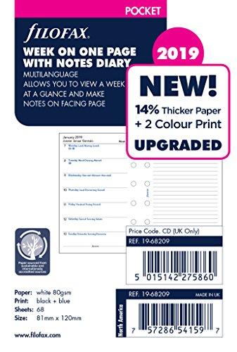 Filofax–19–68209Pocket, settimanale, 2019con notes