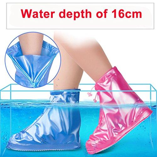 Eagsouni® 1Paar Regenüberschuhe Wasserdicht Schuhe Abdeckung Stiefel Flache Regen Überschuhe Regenkombi Schuhüberzieher Rutschfestem für Damen Mädchen Herren Jungen Blau