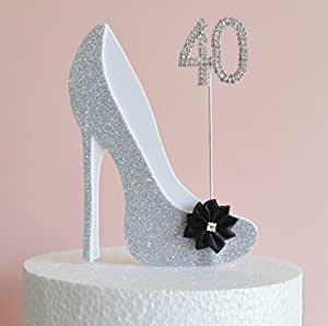40th Birthday Cake Decoration Silver & White Shoe with ...