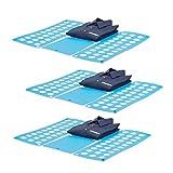 3x Faltbrett Wäsche, Wäschefalter, Hemdenfalter, große Falthilfe, Faltsystem platzsparend, HBT 0,5 x 70,5 x 59 cm, blau