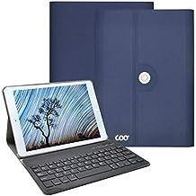 Funda con teclado nuevo ipad 2017 9.7, COO 360 grados soporte giratorio cuero de la PU cubierta con teclado Bluetooth extraíble para nuevo ipad 2017 9.7 ,ipad Air 1/2, ipad pro 9.7 (9.7 inch, Azul oscuro)