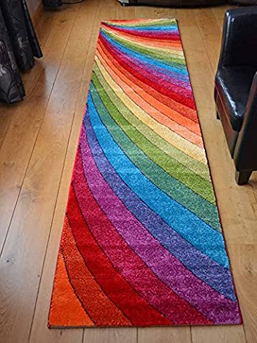 Candy Multicoloured Rainbow Design Rug. Available in 6 Sizes (67cm