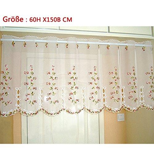 1er Pack Halbtransparent Besticke Bunt Blumen Scheibengardine Küchen Vorhang Tür Gardine