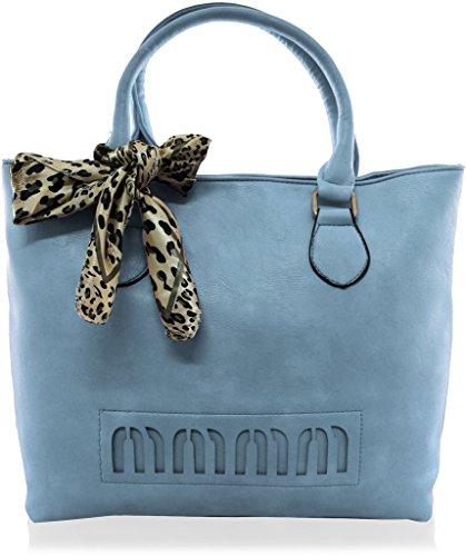 KUKUBIRD leapord großen Tote mit Dameschal DESIGNER-Leder-Handtasche - BLUE (Blue Handtaschen Hobo)