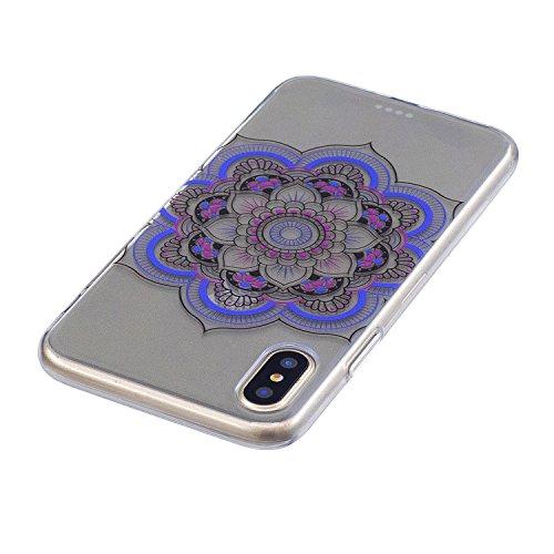 Hülle für Apple iPhone X , IJIA Transparent Bunt Schmetterling TPU Weich Silikon Stoßkasten Cover Handyhülle Schutzhülle Handytasche mit 360 Grad Drehung Finger Ring Case Tasche für Apple iPhone X (5. FD61