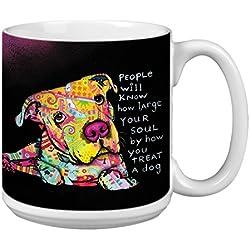 """Árbol de-free XM63206 20 oz de felicitación L-XL """"grande Soul"""" con diseño de barco Dean Russo de perro polvos de cerámica taza de café"""