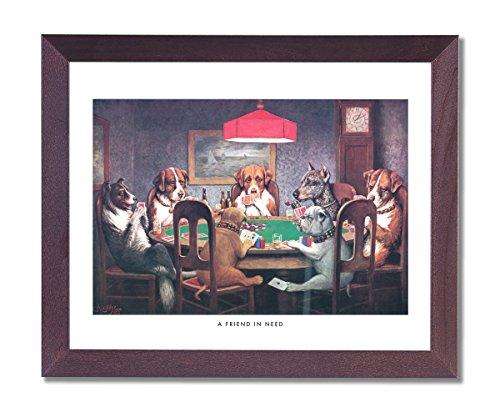 gerahmt Cherry Coolidge Hunde Spielen Poker bei Tisch A Friend in Need # 1Animal Bilder Kunstdruck