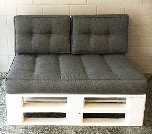 Mayaadi Home Rückenkissen für Palettenauflage Sofa Euro Paletten Polster MH-JC02 Grau (23) 60x40x10-20 cm