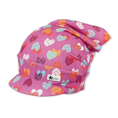 Sterntaler Kopftuch für Mädchen mit buntem Herzchenmuster, Alter: 9-12 Monate, Größe: 47, Rosa (Orchidee)