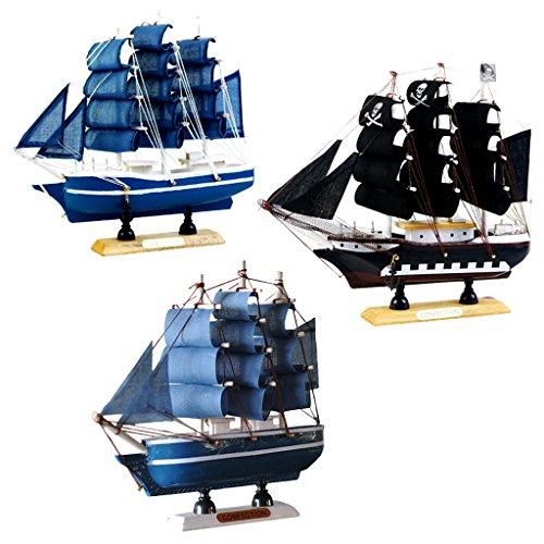 Homyl 3 Stück Nautische Schiffsmodell Piratenschiff Modell, Tischdeko (Piratenschiff Holz-modell-bausatz)