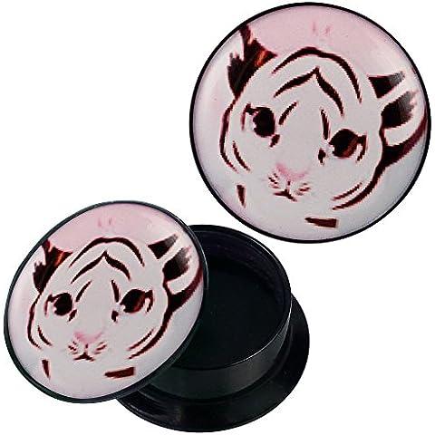 Vite Plug in acrilico nero e rosa bianco Baby Tiger Piercing orecchini