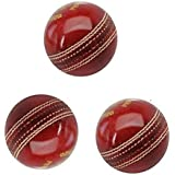 Tima Hightop Leather Cricket Ball Red (Pack of 3 Balls)