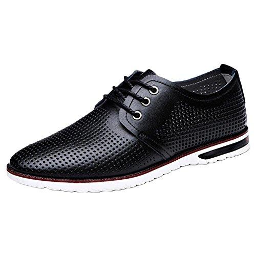 Sandali uomo casual in pelle Inghilterra Hollow scarpe tendenza Sandali traspirante Black