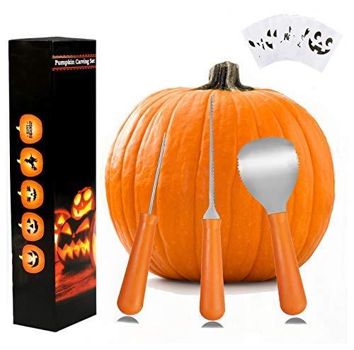 Wolmund Halloween Kürbis Schnitzset, 3-teilig, strapazierfähiges Edelstahl-Werkzeugset und 8 Kürbisschnitzmuster (Halloween-kürbis Bohrer Schnitzen Mit)