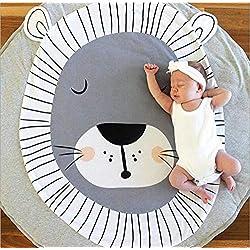 Queta Tapis Ramper bébé Tapis de jeu Tapis Ramper de enfants Rond Animaux Moquette Enfant Tapis pour Fille Garçon 90x90cm (Lion)