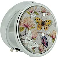 The Olivia Collection placcato argento farfalla fiori Compatto Pill Box sc1170