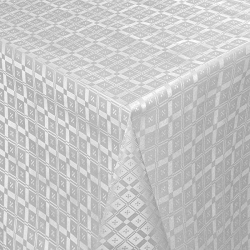 Wachstuch Tischdecke Gartentischdecke mit Fleecerücken Pflegeleicht Schmutzabweisend Abwaschbar Outdoor Karo Muster Silber (03011-11) 200x140 cm - Größe individuell wählbar