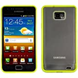 kwmobile Funda para Samsung Galaxy S2 S2 PLUS - Case plástico para móvil - Cover trasero Diseño Marco en verde transparente