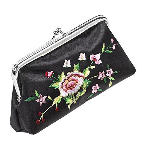 Gleader Schwarz-Blumen gestickte Portemonnaie Spiegel Lipstick-Halter-Case 3 in 1 Set (Gestickte Brieftasche)