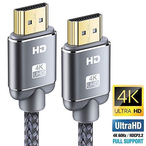 Câble HDMI 4K - Snowkids Câble HDMI 2.0 High Speed par Ethernet en Nylon Tressé Supporte 3D/ Retour Audio - Cordon HDMI pour Lecteur Blu-Ray/Xbox/Xbox 360/ PS3/ PS4/ TV 4K Ultra HD/Ecran - Gris (0.9m)
