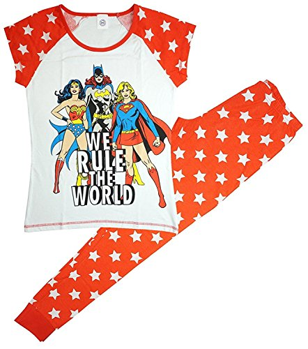 - 51ApaD3BNLL - Womens DC Originals Supergirl Wonder Woman Rule the World Pyjamas sizes from 8 to 22