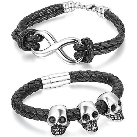 Aroncent stile rock,Gotico braccialetto in pelle per Uomo,forma di cranio,acciaio inossidabile&Braccialetto moda in pelle con simbolo infinito(2 pezzi) - Acciaio Inossidabile Braccialetto Del Cranio