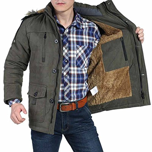 SZYYSD Homme hiver chaud Manteaux parka hiver fourrure avec capuche Militaire blousons Bleu