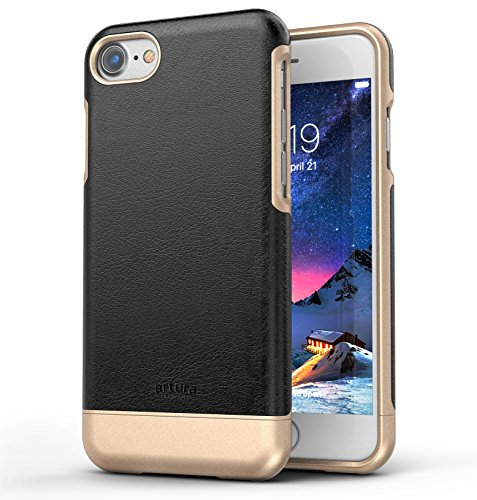 iPhone 7 Premium Vegan Leather Case - Artura Collection By Encased (Pearl/Gold) Onyx