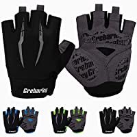 Grebarley Cycling Gloves Bike Bicycle Gloves Gym Gloves Mountain Road Anti-Slip Shock-Absorbing Gel Pad Light Weight Breathable MTB Biking Gloves for Men Women (Black, L)