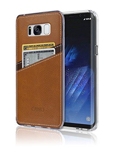 S8Case [Leder Rückseite] [Wallet Case] [2Karte] S8Weich Slim Fit Hybrid Bumper Polyurethan TPU Flexibles Slot Leicht, Schutz für Samsung Galaxy S 8, Braun - Bling Note4 Samsung Case