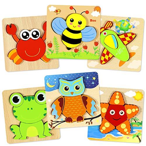 aovowog Holzpuzzle ab 1 2 3 Jahren,Holzpuzzle 3D Kinder Steckpuzzle Holz Spielzeug,Holzpuzzle Lernspielzeug Pädagogisches Geschenk Spielzeug für Kleinkinder,Weihnachten Geburtstag (6 Stück)