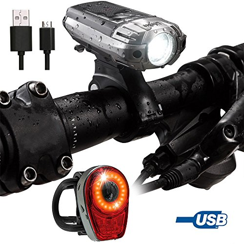 LED Fahrradlampe, Lifebee Retro Wiederaufladbare Wasserdicht Vorne Hinten LED Fahrradlicht Set, 300 LM USB-Kabel zum Aufladen Akku Fahrradlampe, 4 Lichtmodus Sport Fahrradbeleuchtung