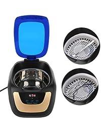 Limpiador ultrasónico, limpiador ultrasónico Pequeño limpiador ultrasónico, usado para limpiar joyas, relojes, gafas, dentaduras postizas, monedas antiguas, etc. (750 ML)