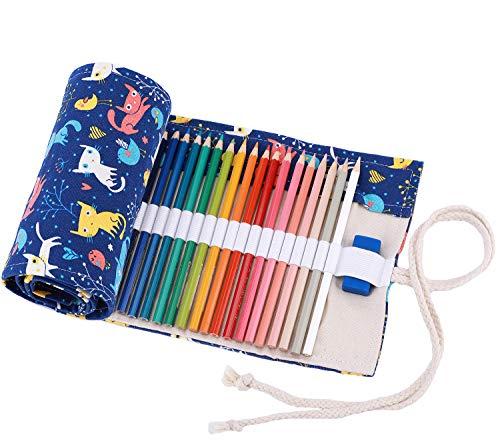 Amoyie - sacchetto della matita portamatite arrorolabile per 48 matite colorate porta penne tela wrap borse organizer astuccio portapenne scuola cassa del supporto di matita viaggio le gatto blu 48