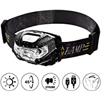 Headlamp TinMiu USB Rechargeable LED Headlight Head Torch with Smart Sensor IPX4 Waterproof Headband Light for Camping Fishing Hiking Bicycling Hunting