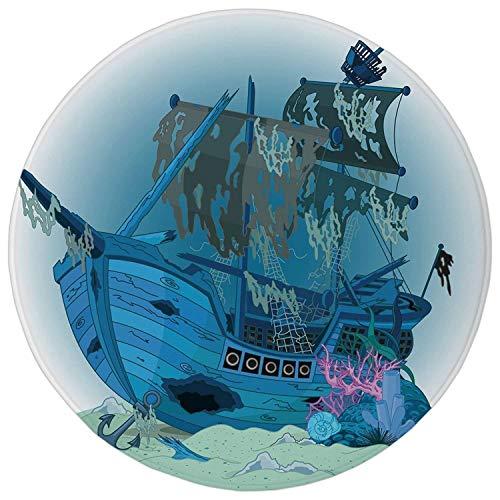irate Ship,Sunken Old Wrecked Buccaneer Vessel Antique Aquatic Underwater View Decorative,Blue Almond Green Pink,Flannel Microfiber Non-slip Soft Absorbent Kitchen Floor Ba ()