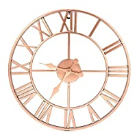YJSMXYD Clock,Wall Clocks 40Cm Metal Rose Gold & Copper Roman Openwork Silent Home Decor Living Room Simple Design
