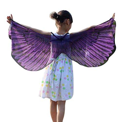 Faschingskostüme Schmetterling Schal Mädchen Karneval Kostüm Schmetterlingsflügel feenhafte Nymphe Pixie Halloween Cosplay Kinder Schmetterlingsf Cosplay Butterfly Wings Flügel LMMVP (Lila (Mädchen Lila Pixie Kostüme)