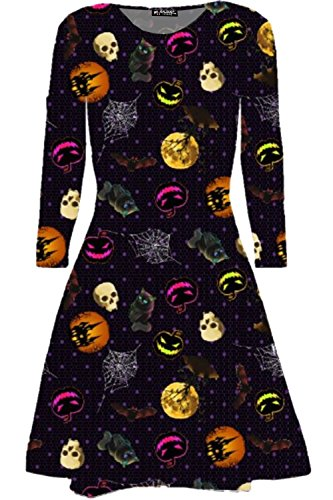 loween Kostüm Ghost Moon Bedruckt Ausgefallen Party Swing Minikleid UK Übergröße 8-32 - Schädel Katze Mond, M/L (UK 12/14) ()