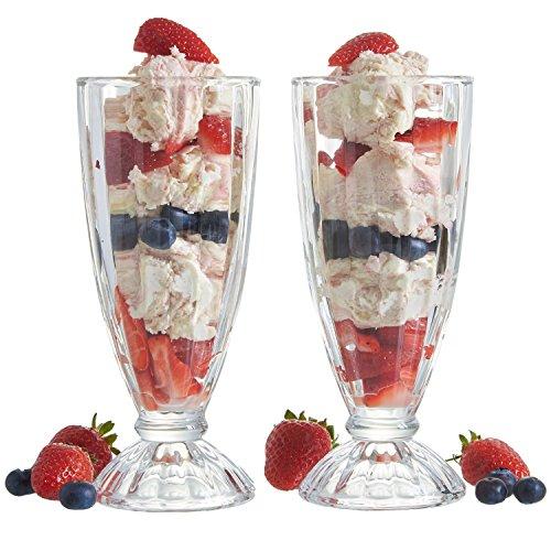 Vintage Gourmet®-Set di 6bicchieri da American Style gelato frappè Retro/340ml soda stilografica Knickerbocker Glory deserto Bicchieri alti per gelato