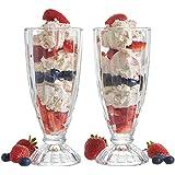 Vintage Gourmet® - Conjunto de 6copas para helados y batidos, 340 ml, estilo retro americano alto