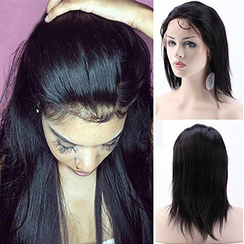 Parrucca capelli veri 360 lace wig umani naturali glueless lisci 100% virgin brasiliani 130% densità con babay hair pre plucked per donna bellezza, 10