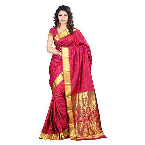 Varkala Silk Sarees with Blouse Piece  (JP8106RDV_Red & Violet_Free Size)