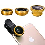 #7: Brobeat Universal 3 In 1 Cell Phone Camera Lens Kit -Fish Eye Lens, 2 In 1 Macro Lens & Wide Angle Lens for Android/iOS Devices (Color may vary)