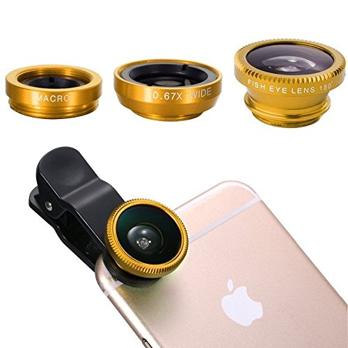 Brobeat Universal 3 In 1 Cell Phone Camera Lens Kit -Fish Eye Lens, 2 In 1 Macro Lens & Wide Angle Lens for Android/iOS Devices (Color may vary)